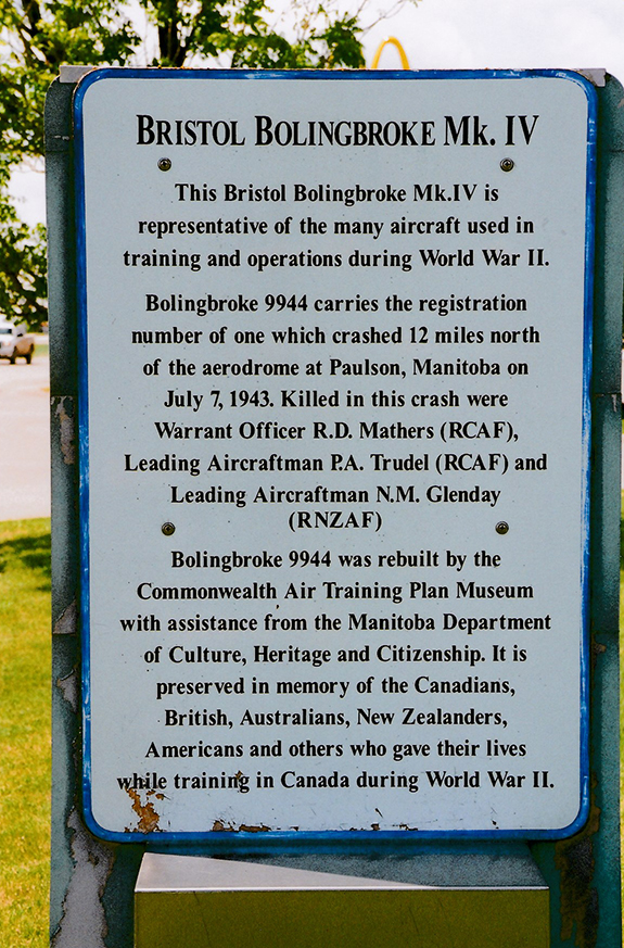 A memorial plaque tells the story of the loss of Bolingbroke 9944 with three crew members