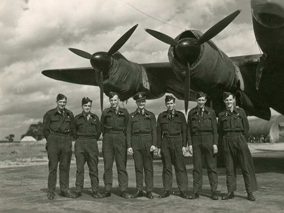 noel shanks third from right with his royal air force lanc