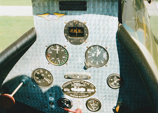 The cockpit of the Corben Super Ace with original Corben Sport Plane Co nameplate and lubrication recommendations