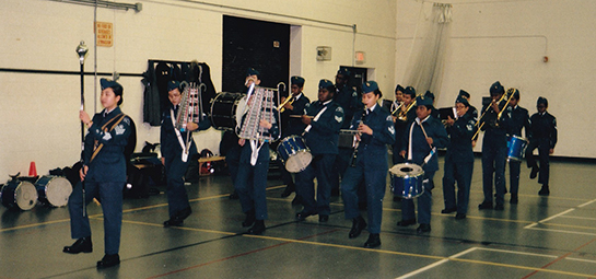 631 Sentinel Squadron Drum Major FSgt Zoe Elizabeth Chee leads the band on parade