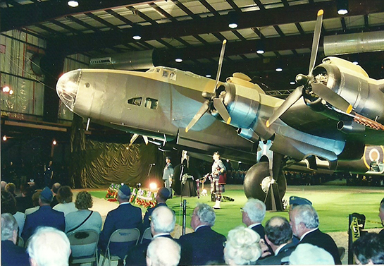 Rebuilt Halifax Mark VII NA337 shown at its dedication at the National Air Force Museum Trenton Nov 5 2005 Gord McNulty