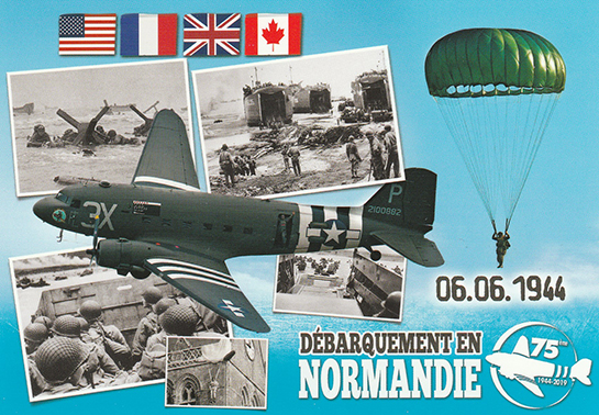 07 The C 47 Skytrain in the USAAF and Dakota in the Allied air forces is saluted in this postcard at the Juno Beach Centre