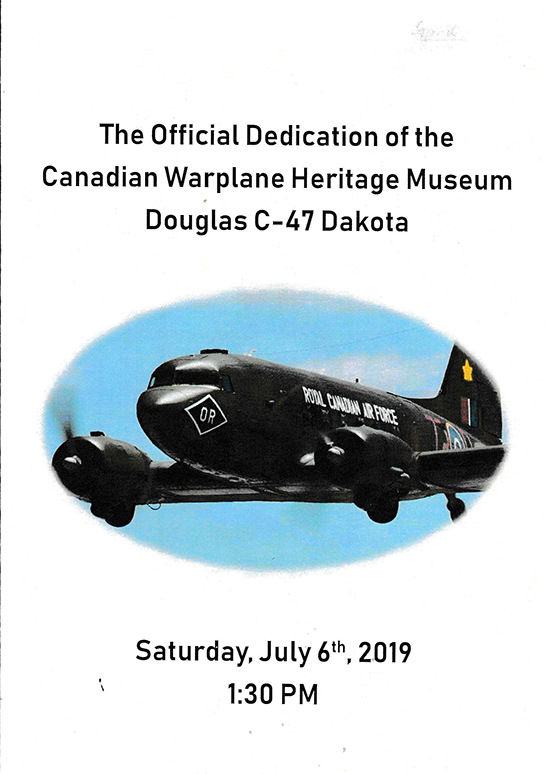 10 Attendees received a brochure for the Official Dedication of the CWHM C 47 Dakota