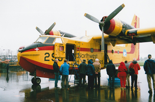 Convention attendees inspected a Canadair CL 215 slated for conversion to CL 215T standard at Viking Air G McNulty photo