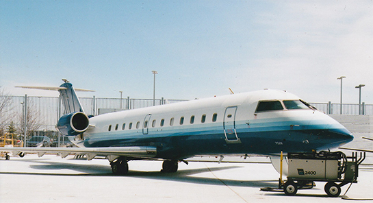 Another view of the Bombardier CRJ200 donated to Centennial outside the large hangar on Apr 25 2019 Gord McNulty