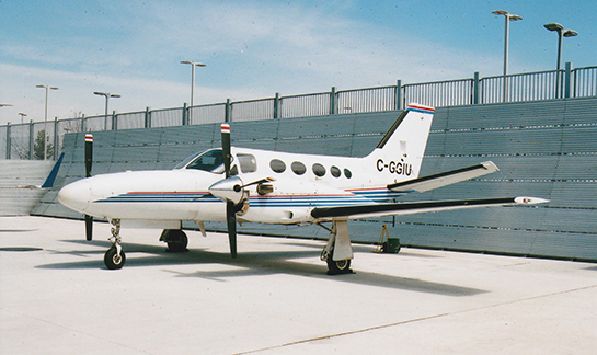 Centennial College Cessna Conquest 425 outside the hangar at Downsview Campus Gord McNulty