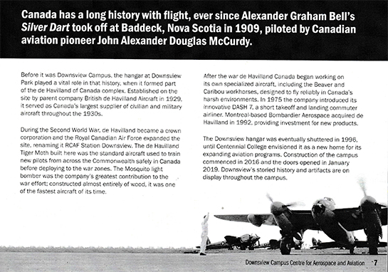 The official brochure for the opening of the new campus highlights Downsviews history in Canadian aviation