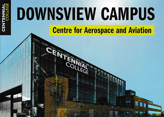 Transition from the old to the new at Downsview illustrated on the cover of a brochure for the opening of the new Downsview Campus