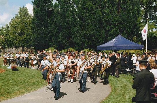 Air cadets from the Blackdown Cadet Training Centre Band marched with precision at Meadowvale Cemetery on July 27