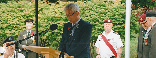 Chung Tae In Consul General of Kore spoke during the July 27 Memorial Service in remembrance of the end of the Korean War