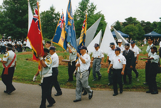 The Korea Veterans Colour Party at the Memorial Service at Meadowvale Cemetery July 27 2018
