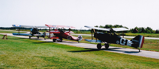 A trio of Great War Flying Museum replicas line up for demonstration at Brampton Caledon Airport Day Sept 10 Gord McNulty