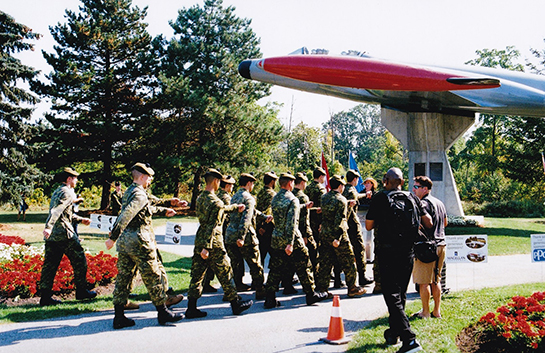 The Malton CF 100 Rededication Ceremony included the Toronto Scottish Regiment